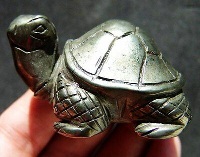 """2.5"""" Natural Pyrite Crystal Carving Art Turtle"""