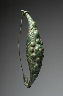 Ancient Roman Very Large Bronze Fibula Pin. 8 in long • CAD $1,890.00
