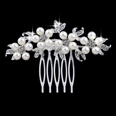 Rhinestone crystal pearl silver plated bridal hair comb hair accessories C