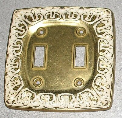 1 Vintage Art Nouveau Solid Brass Electrical Double Switch Wall Plate cover