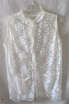 DICKIE-INSERT-White-Blouse-Dress-Suit-Lace-Ruffle-Collar-Sheer-Sexy-Camisole