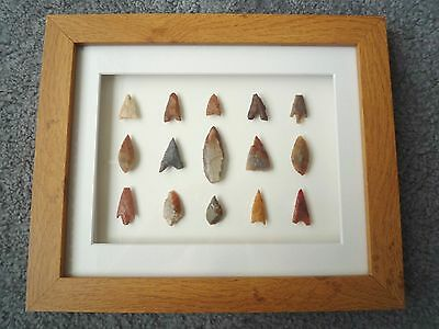Neolithic Arrowheads in 3D Picture Frame, Authentic Artifacts 4000BC (Z083)