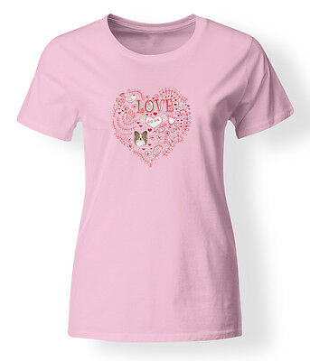Love Hearts and  Papillon T-shirt Ladies Cut Short Sleeve Large