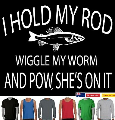 Funny T-Shirt I hold my rod Fishing fish Dad uncle Singlets Men's Aussie Store