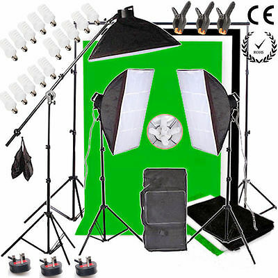 2850W Photo Studio Continuous Lighting kit Softbox Boom arm 3 Background Stand
