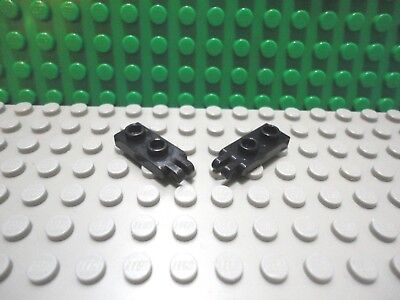 Lego 2 Yellow 1x2 hinge plate base with 2 fingers on the end