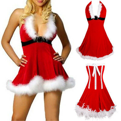 Women Santa Xmas Fancy Plus Size Overbust Corset Bustier Costume Christmas Dress