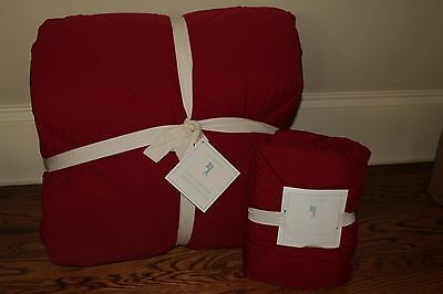 NWT Pottery Barn Kids Cozy Comforter twin quilt & sham red Christmas