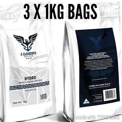 3 Elements Coffee - Hydro. Premium Freshly Locally Roasted Coffee Beans 1kg X 3