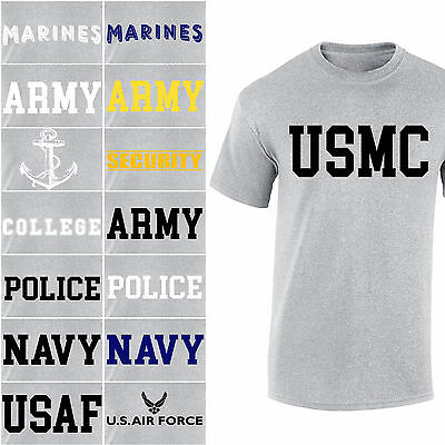 US Army Navy Air Force USAF Marines USMC Physical Military Training T Shirt Gray