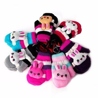 Children Baby Kids Gloves Hanging Knitted Rabbit Stripe Winter Warm Mittens