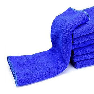 2* Blue Microfiber Towel Auto Detailing Cleaning Towel Soft Super Absorbent Rag