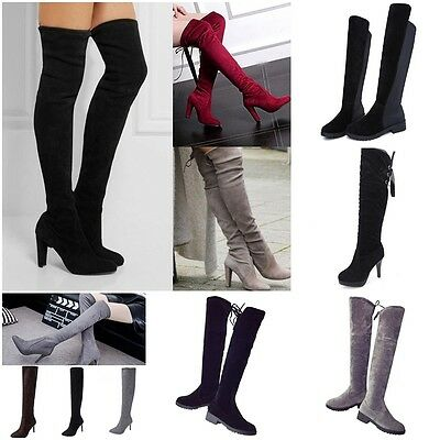 Winter Autumn Lady Over Knee Shoes Slip-on Leisure Lace-up Women High Heel Boots