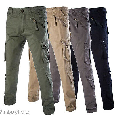 CARGO Men's Plain Cotton Work Casual Cargo Pants Smart Trousers Full size COMBAT