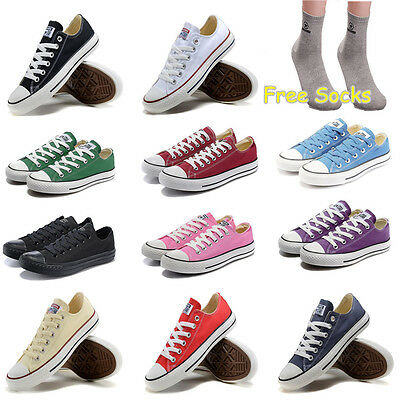 Men Women Sneakers Low Top Casual Canvas Chuck Taylor Athletic Shoes+Free Socks