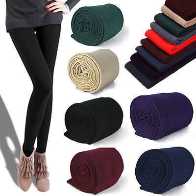 Women Fashion Brushed Stretch Fleece Lined Thick Tights Winter Warm Pants