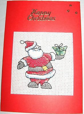 Christmas Card Completed Cross Stitch Santa