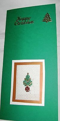 Christmas Card Completed Cross Stitch Tree