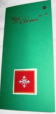 Christmas Card Completed Cross Stitch Snowflake