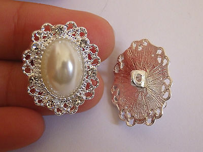2 large crystal buttons pearl rhinestone diamante upholstery wedding silver UK 2
