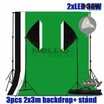 Photo Studio Softbox LED Bulb Lighting Video Soft Box Light Backdrop Stand Kit