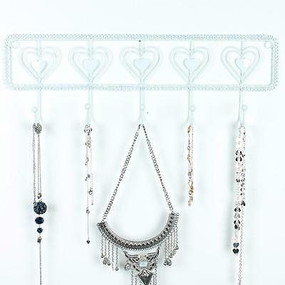 Heart Jewellery Hanger Holder Stand White Necklace Bracelet Storage Vintage