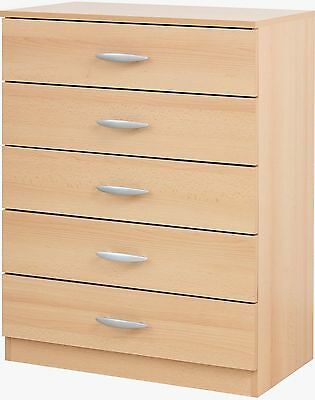 Cedarville 5 Drawer/4 Drawers/Draw Chest/Bedside Metal Runners (Beech or Black)