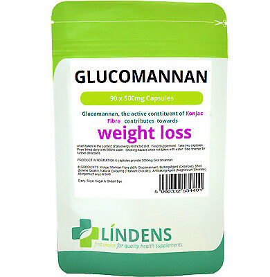 Glucomannan Konjac Fibre 500mg 90 capsules diet weight loss appetite Lindens