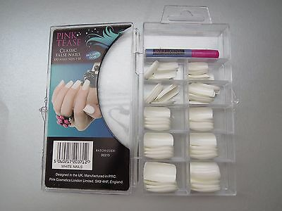 New 100 Pack White Colour Classic False Nails Pink Tease + Glue, Fake nails,