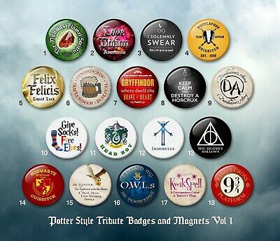 Harry Potter style 38mm badges & Fridge Magnets vol 1 HP Wizard collector
