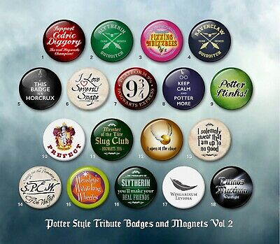 Harry Potter style 38mm badges & Fridge Magnets vol 2 HP Wizard collector