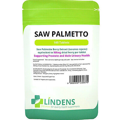 Saw Palmetto 500mg  Prostate and Male Urinary Health (100 tablets) Lindens