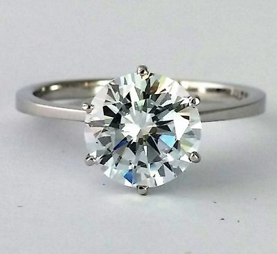 1 CT Solitaire Diamond Engagement Ring Round D /SI2 14K White Gold Enhanced Real