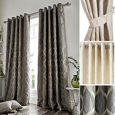 Anya Metallic Geometric Print Lined Curtains Pair of Choice of Size /& Colour