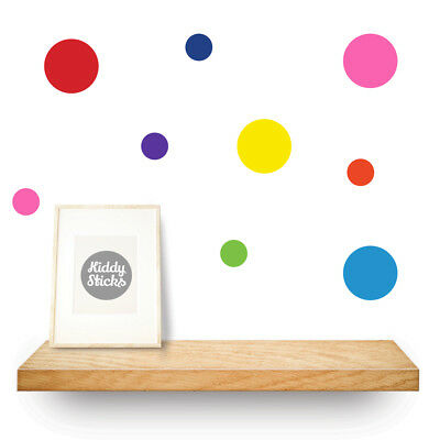 40 x Multi Coloured Polka Dot / Spotty Wall Stickers / Decals - mixed sizes