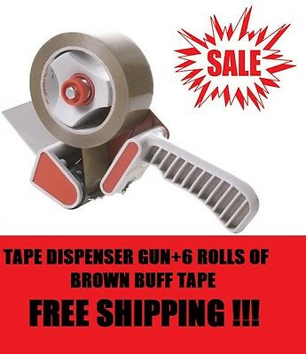 Tape Dispenser Gun+6Huge Rolls Buff Brown Parcel Packing Packeging Tape 48mmX66M
