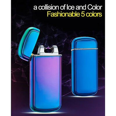 USB Metal Rechargeable Electric LIGHTER Dual ARC PULSE Flameless Windproof Hot@