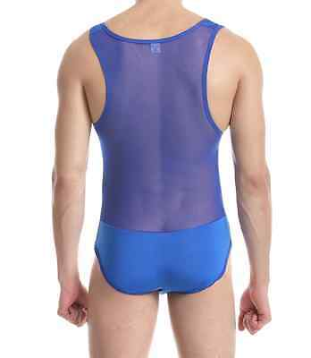 Uk Seller Transparent Mesh All-In-One Mens Unitard Underwear Or Gym Base Layer