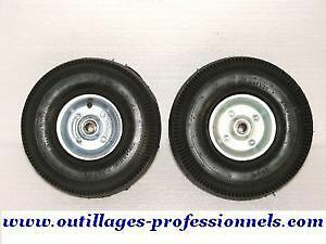 ROUES GONFLABLES ROULEMENTS JANTE METAL GALVANISE DEMONTABLE 260x85mm AXE 16mm £