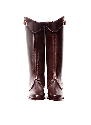 Custom Polo Player Front Zipper Boots - YKK BRASS 100% Leather