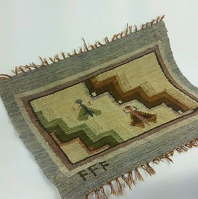 Native American Pictorial Rug Weaving Signed