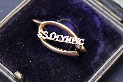 White Star Line Rms Olympic 1St Cl Souvenir Solid 9Ct Gold Lucky Wishbone Broach