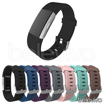 NEW Silicone Diamond Pattern Sports Wrist Band Strap For Fitbit Charge 2 Tracker