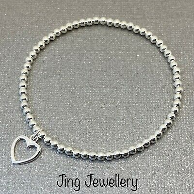 Sterling Silver Beaded Stretch Stacking Bracelet With Open Heart 925 Handmade