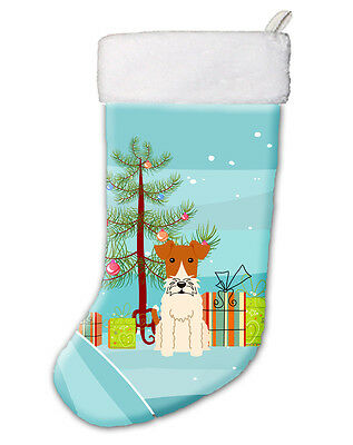Merry Christmas Tree Wire Fox Terrier Christmas Stocking