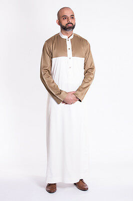 Cream/Gold Mens Jubba Traditional Thobe