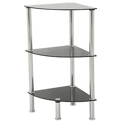 3 Tier Corner Black Glass Shelving Shelf Unit Display Cabinet