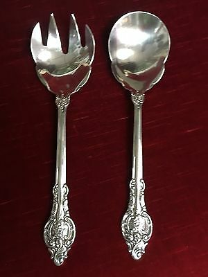 Antique Wallace Serving Spoon & Fork FLORAL Ornate Silverplate