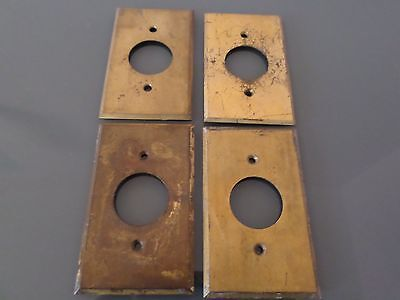 Lot - 4  vintage solid brass switchplate single outlet covers