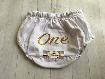 Baby Bloomer, White & Gold Glitter ONE 1st Birthday Cotton Diaper Cover